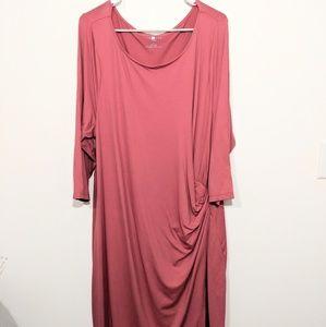 Talbot's Woman Pink Faux Wrap Stretch Dress 3X